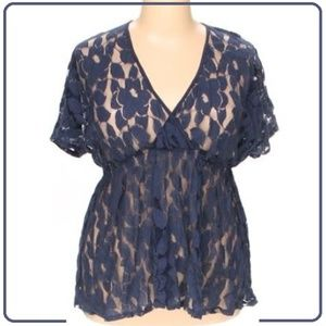 Navy Leaf Mesh Cover Top